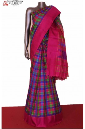 Multi Checks Kanjivaram Silk Saree