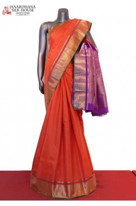Zari Checks & Contrast Wedding  Kanjeevaram Silk Saree