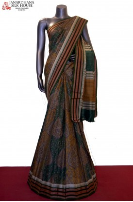 Exquiste MasterWeave Prints & Handloom Pure Tussar Silk Saree
