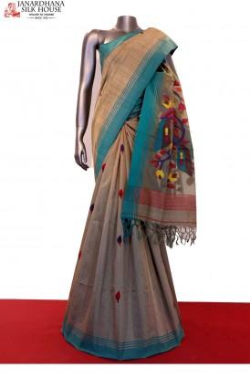 Exquisite Master Weave Handloom Dhakai Jamdani Tussar Silk Saree
