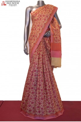 Floral Prints Pure Printed Silk Saree