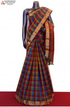 Colorful Checks Pure South Silk Saree