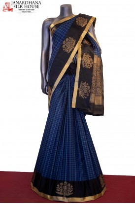 Handloom Checks & Contrast Tussar Silk Saree
