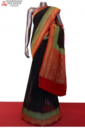 AF204352-Exclusive Handloom Banarasi Georgette Silk Saree