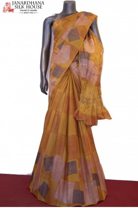 Exclusive Prints Pure Tussar Silk Saree-Crush Pallu
