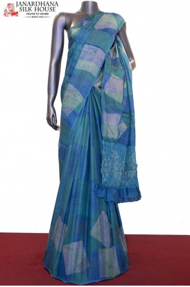 Exclusive Crush Pallu & Prints Pure Tussar Silk Saree