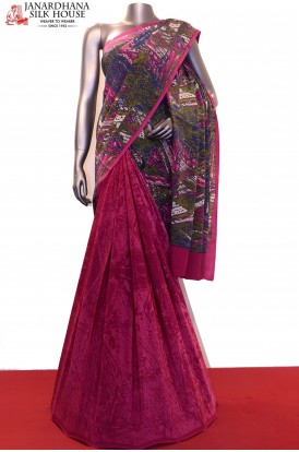 Exclusive Patli Abstract Prints Pure Crepe Silk Saree