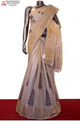 Designer & Exclusive Embroidery Handloom Tussar Silk Saree