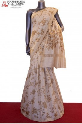 Exclusive Floral Prints & Mirrow Work Handloom Tussar Silk Saree