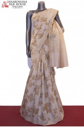 Exclusive Floral Prints & Mirror Work Handloom Tussar Silk Saree