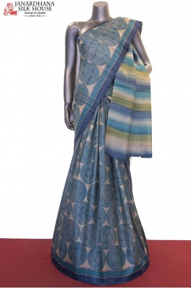 AF205301-Exclusive Prints Pure Tussar Silk Saree