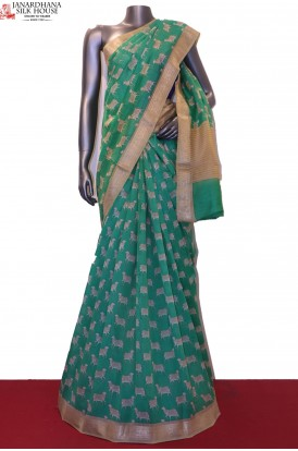 AF205435-Handloom Pure Chanderi Cotton Saree
