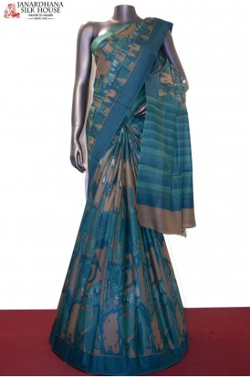 Exclusive Abstract Prints & Handloom Pure Tussar Silk Saree