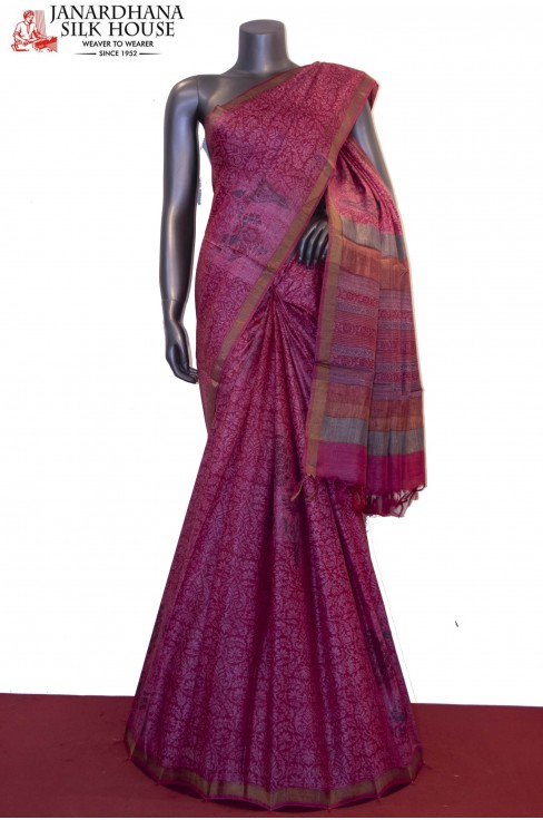 Party Wear Pure Printed Tussar..