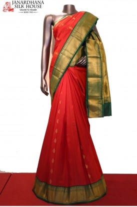 AF206285-Contrast Exclusive Grand Wedding Pure South Silk Saree
