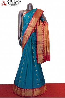AF206293-Contrast Exclusive Grand Wedding Pure South Silk Saree