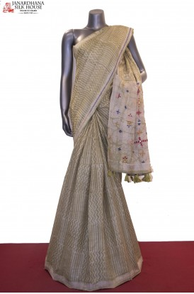 Exquiste Dabu Block Print & Katha Embroidery Pure Tussar Silk Saree