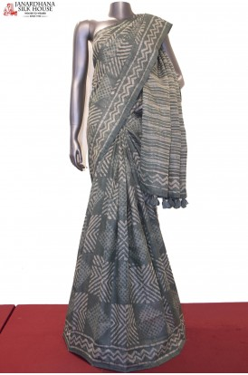 Exclusive Ajrak Prints Handloom Pure Tussar Silk Saree