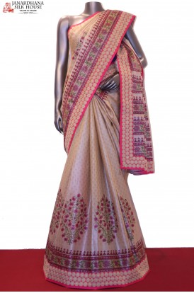 Designer Prints & Embroidery Pure Tussar Silk Saree