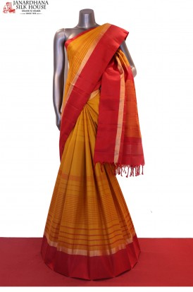 Exclusive Contrast Handloom Pure Soft Silk Saree