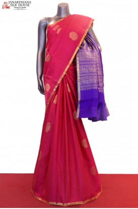 Peacock & Contrast Grand Wedding Kanjeevaram Silk Saree