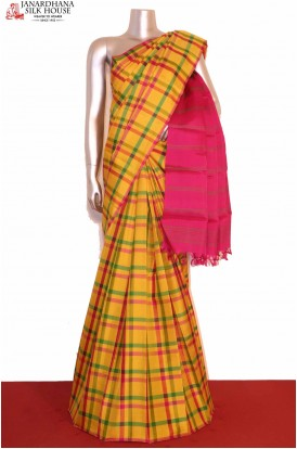 Checks Kanjivaram Silk Saree..