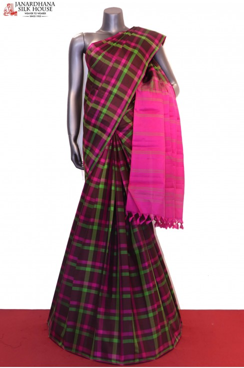 Traditional Handloom Colorful Checks Kanjeevaram Silk Saree