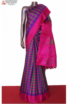 Multi Checks Temple Kanjivaram Silk Saree