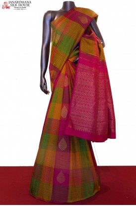 Classic Colorful Checks & Grand  Zari Motif Handloom Kanjeevaram