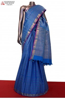 Exclusive Rich Zari Colorful Checks  & Classic Kanjeevaram Silk Saree