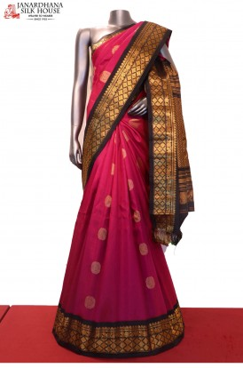 Contrast Exclusive Handloom Pure Gadwal Silk Saree
