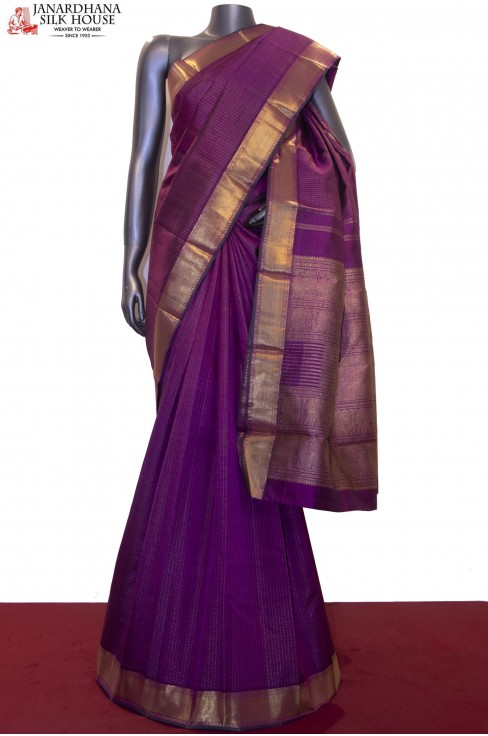 Wedding Classic Zari Checks Kanjeevaram Silk Saree