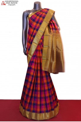 Color & Zari Checks Traditional Kanjeevaram Silk Saree