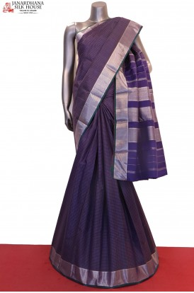 Silver & Checks Classic Kanjeevaram Silk Saree