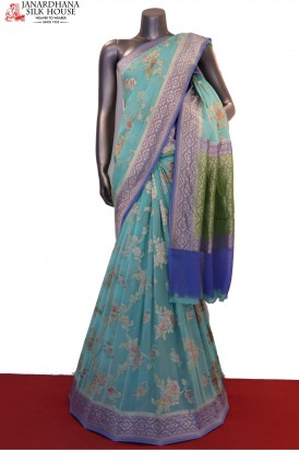 Designer & Exclusive Brush Paint Banarasi Georgette Silk Saree