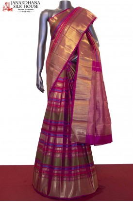 Contemporary Meenakari Bridal Handloom Kanjeevaram Silk Saree