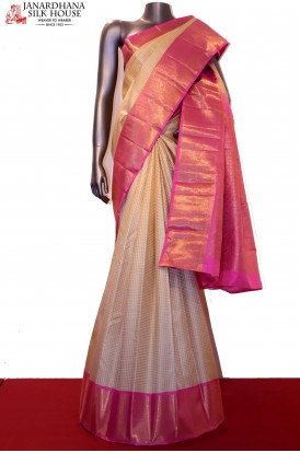 Exquisite Zari Checks Silver Motif & Grand Contrast Wedding Kanjeevaram