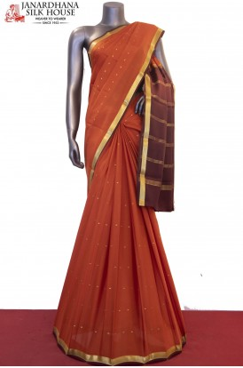 Contrast & Traditional Pure Mysore Crepe Silk Saree
