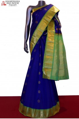 Peacock & Chakram Contrast Wedding Exclusive Kanjeevaram Silk Saree