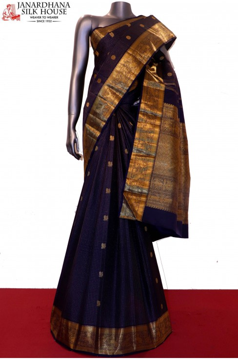 Grand Bridal Exclusive Zari Checks Zari Butta Kanjeevaram Silk Saree