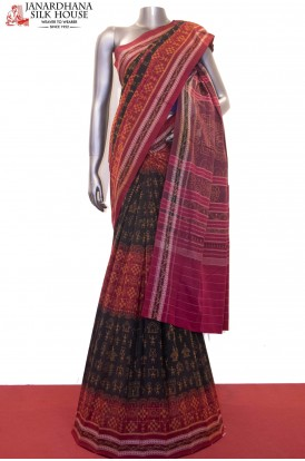 AF210819-Exquisite Handloom Thread Weave Orissa Ikat Patola Cotton Saree-Without Blouse