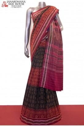 Exquisite Handloom Thread Weave Orissa Ikat Patola Cotton Saree-Without Blouse