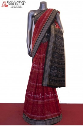 Exquisite Handloom Thread Weave Orissa Ikat Patola Cotton Saree