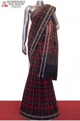 Exquisite Handloom Thread Weave Orissa Ikat Patola Cotton Saree-Without Blouse
