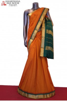 Temple & Contrast Traditional Pure South Silk Saree