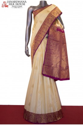 Meenakari Gold Silver Exclusive Bridal Handloom Kanjeevaram Silk Saree