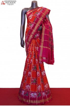 Exquisite & Zari Checks Handloom Pure Ikat Patola Silk Saree