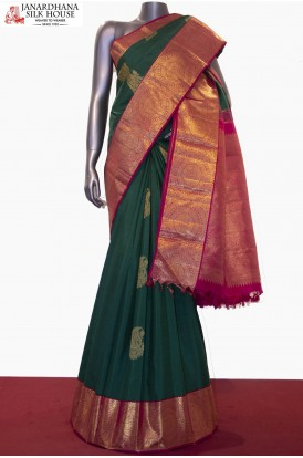 Exquisite Bridal Grand Zari Chakram Handloom Kanjeevaram Silk Saree