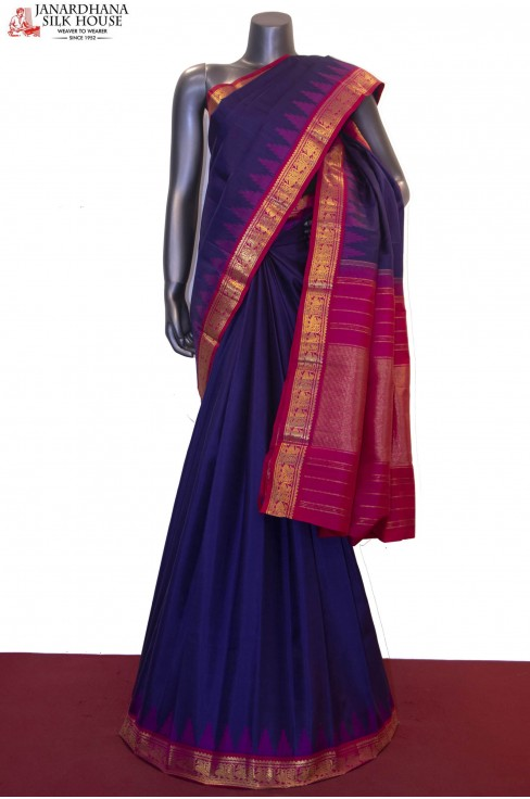 Traditional Temple & Classic Contrast Kanjeevaram Silk Saree