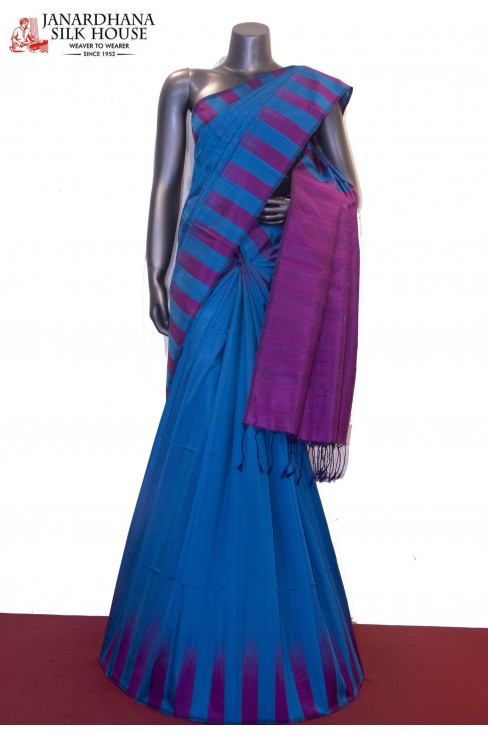 Thread Weave & Contrast Handloom Pure Soft Silk Saree
